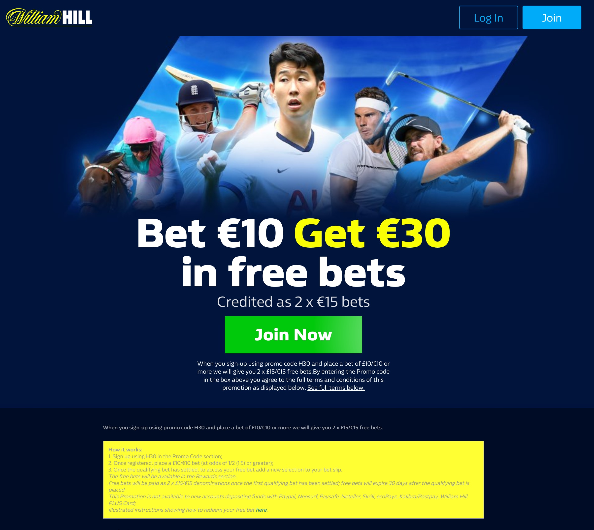 william hill each way betting rules of 21